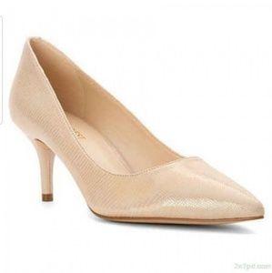 Nine Westargot Light Gold Iridescent Heels
